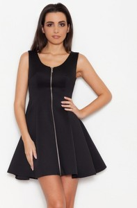 Czarna sukienka LENITIF rozkloszowana