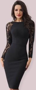 Sukienka Rare z okrągłym dekoltem z długim rękawem