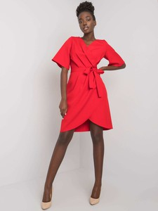 Czerwona sukienka Sheandher.pl z bawełny mini w stylu casual