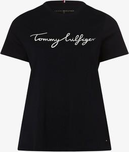 Czarny t-shirt Tommy Hilfiger z bawełny z okrągłym dekoltem