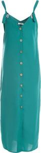 Zielona sukienka Multu na ramiączkach z dekoltem w kształcie litery v