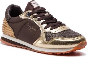 Brązowe buty sportowe Pepe Jeans sznurowane