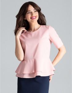 Różowa bluzka LENITIF z okrągłym dekoltem