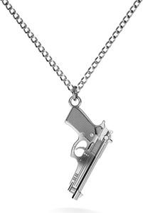 GIORRE Srebrny naszyjnik pistolet duża beretta 925 : Długość (cm) - 70, Kolor pokrycia srebra - Pokrycie Czarnym Rodem