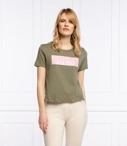 Zielony t-shirt Guess w młodzieżowym stylu z krótkim rękawem