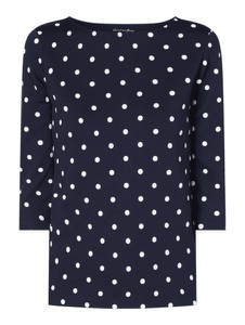 Granatowa bluzka Christian Berg Women z bawełny w stylu retro z długim rękawem