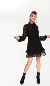 Czarna sukienka Top Secret z długim rękawem z szyfonu
