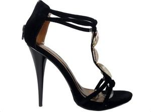 Czarne sandały Amerykanskie na szpilce na wysokim obcasie na zamek