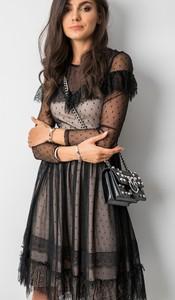 Czarna sukienka Fashion Manufacturer rozkloszowana z tiulu