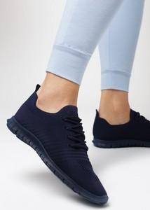 Granatowe buty sportowe born2be sznurowane z płaską podeszwą