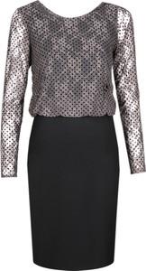 Sukienka Fokus w stylu glamour z długim rękawem koszulowa