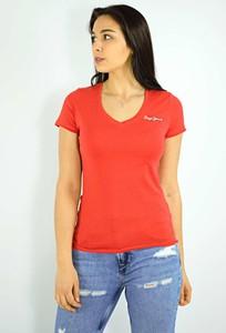 Czerwona bluzka Pepe Jeans w stylu casual z krótkim rękawem z okrągłym dekoltem