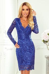 Niebieska sukienka NUMOCO mini dopasowana z długim rękawem
