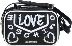 Czarna torebka Love Moschino z nadrukiem na ramię