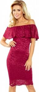 Bordowa sukienka MORIMIA hiszpanka z krótkim rękawem