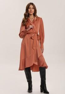 Pomarańczowa sukienka Renee mini z długim rękawem
