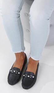 Granatowe półbuty Casu w stylu casual ze skóry ekologicznej z płaską podeszwą