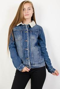 Granatowa kurtka Olika z jeansu w street stylu