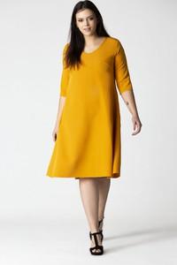 Sukienka Grandio z okrągłym dekoltem midi dla puszystych