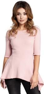 Różowa bluzka Be z okrągłym dekoltem z krótkim rękawem