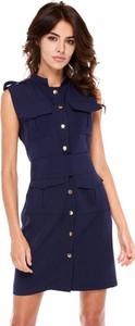 Niebieska sukienka Moda Dla Ciebie z odkrytymi ramionami mini w stylu casual