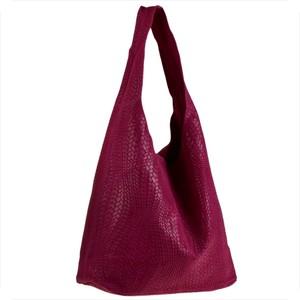 Czerwona torebka Real Leather w stylu glamour ze skóry duża