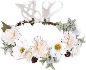 Iloko WIANEK do włosów BOHO kwiaty BIAŁY rustykalny