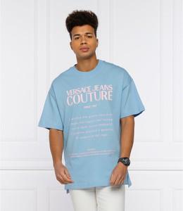 Niebieski t-shirt Versace Jeans w młodzieżowym stylu z krótkim rękawem