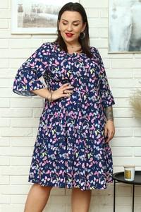 Sukienka KARKO dla puszystych z okrągłym dekoltem z długim rękawem