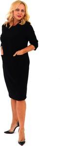 Czarna sukienka Roxana - sukienki z długim rękawem
