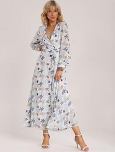Niebieska sukienka Renee z dekoltem w kształcie litery v w stylu boho