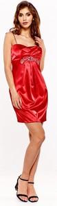 Sukienka Fokus z okrągłym dekoltem z satyny