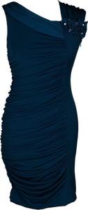 Granatowa sukienka Fokus dopasowana w stylu etno
