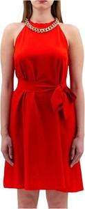 Czerwona sukienka Pinko mini rozkloszowana z okrągłym dekoltem