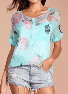 Niebieska bluzka Cikelly z bawełny w stylu casual