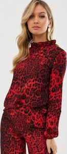 Czerwona bluzka Ax Paris z długim rękawem