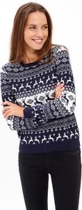 Granatowy sweter Gate w bożonarodzeniowy wzór