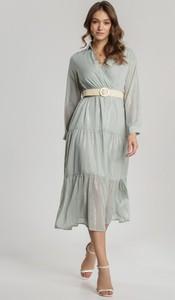 Miętowa sukienka Renee z długim rękawem midi koszulowa