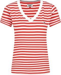 Czerwony t-shirt Tommy Jeans z krótkim rękawem