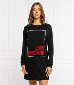 Sukienka Love Moschino z okrągłym dekoltem z długim rękawem mini