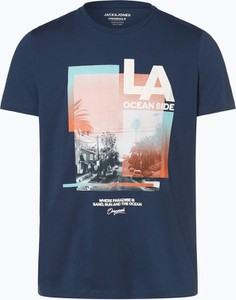 Niebieski t-shirt Jack & Jones z bawełny z krótkim rękawem