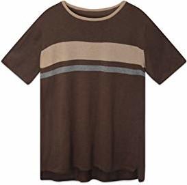 Brązowy t-shirt State Fusio w stylu casual z krótkim rękawem z bawełny