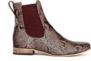 Botki Zapato z płaską podeszwą w stylu casual ze skóry