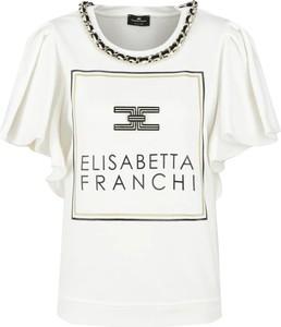 Bluzka Elisabetta Franchi z okrągłym dekoltem z krótkim rękawem