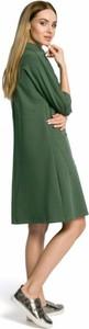 Zielona sukienka MOE z długim rękawem