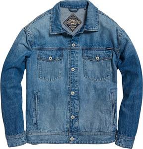 Niebieska kurtka Superdry z jeansu w młodzieżowym stylu