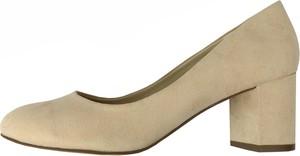 Brązowe czółenka Bianco Footwear w stylu klasycznym na obcasie z zamszu