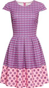 Fioletowa sukienka bonprix BODYFLIRT boutique bez rękawów w stylu casual z okrągłym dekoltem