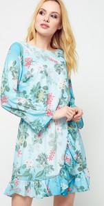 Turkusowa sukienka Yups w stylu casual z okrągłym dekoltem z bawełny