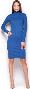 Niebieska sukienka Figl z długim rękawem z bawełny